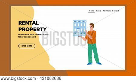 Rental Property Broker Business Occupation Vector. Businessman Manager Presenting House Residence Or