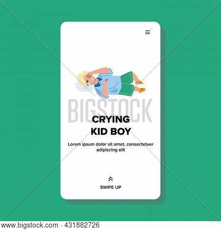 Frustrated Crying Kid Boy Laying On Floor Vector. Small Crying Kid Boy Wanting Toy In Store, Childho