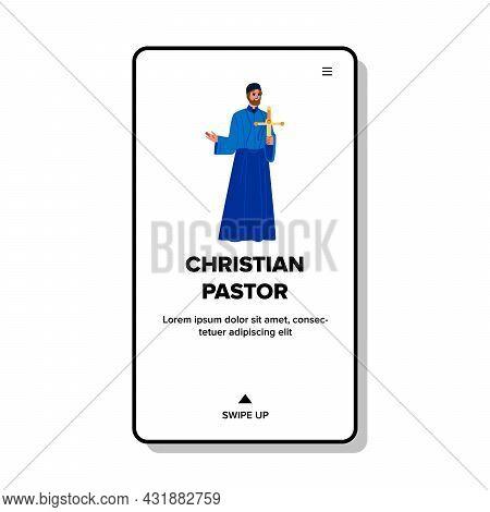 Christian Pastor In Christianity Church Vector. Christian Pastor Man Reading Prayer On Religious Cer