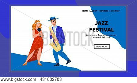 Jazz Festival Performing Song And Music Vector. Girl Singing In Microphone And Man Playing Melody On