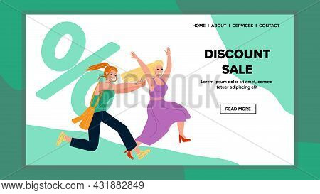Discount Sale Event Running Girls Customers Vector. Young Women Running On Discount Sale In Clothing