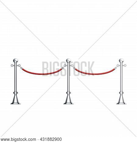Barriers Chrome Column With Red Velvet Rope Vector. Theater, Exhibition Pavilion And Auto Show Luxur