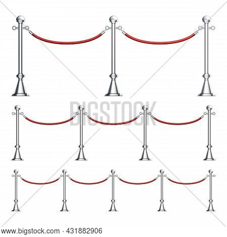 Barriers Chrome Column With Velvet Rope Set Vector. Different Length Fashion Event Barriers, Silver