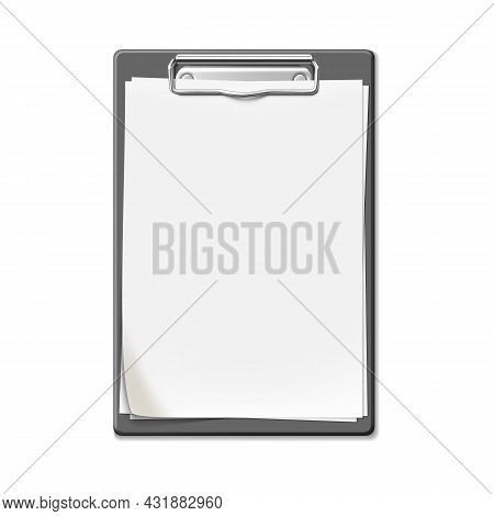 Clip Board With Blank List Sheet Attached Vector. Plastic Clip Board With Paper, Checklist For Writi