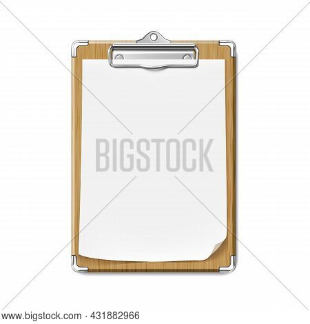Clip Board With Blank Paper Sheet Attached Vector. Wooden Clip Board With List, Doctor Stationery Ac