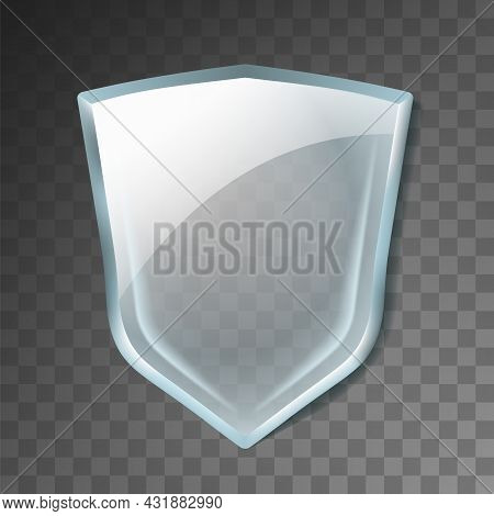 Glass Shield Acrylic Transparent Panel Vector. Blank Glass Shield, Medical Healthcare And Treatment