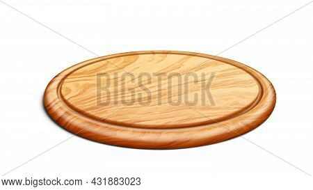 Pizza Board Accessory For Delicious Food Vector. Round Wooden Pizza Board In Circular Form Tray For