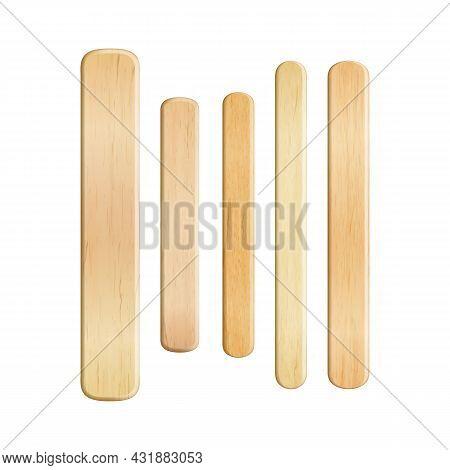Tongue Depressor Wooden Sticks Tool Set Vector. Tongue Depressor Doctor Accessory For Examining Pati