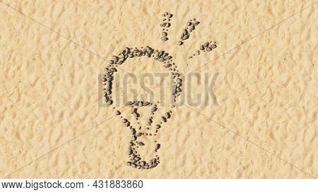 Concept conceptual stones on beach sand handmade symbol shape, golden sandy background, shining lightbulb sign. 3d illustration metaphor for creation, inspiration, brainstorming, genius and invention