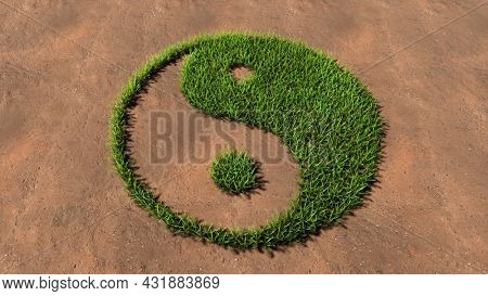 Concept conceptual green summer lawn grass symbol shape on brown soil or earth background, chinese symbol of Yin-Yang. 3d illustration metaphor for taoism, meditation, balance and armony