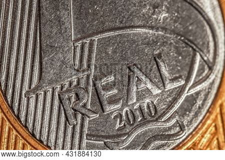 Extreme close up shot of One Real Brazilian coin
