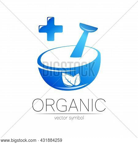 Organic Vector Symbol In Blue Color. Concept Logo With Cross For Business. Herbal Sign For Medicine,