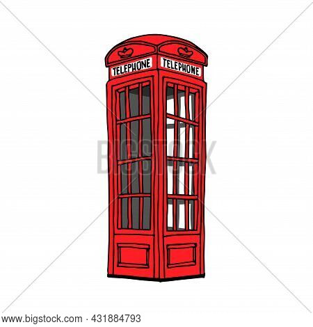 Traditional Red British Telephone Booth, An Old Landmark Of The City, A Symbol Of London, A Color Ve