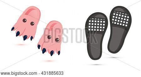 Pair of Home Children's Slippers and Black Beach Isolated on White. Slippers Icons. Cute Slippers in the Form of a Dinosaur with Eyes. Home Shoes.