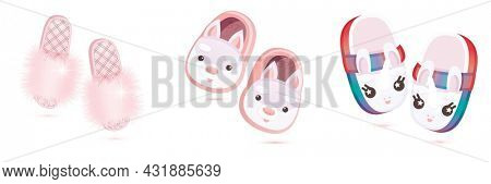 Pair of Fashion Pink Fur, Soft Home Slippers with Rabbits and Cute Children's Slippers in the Form of a Unicorn Isolated on White. Luxury Women's Shoes.