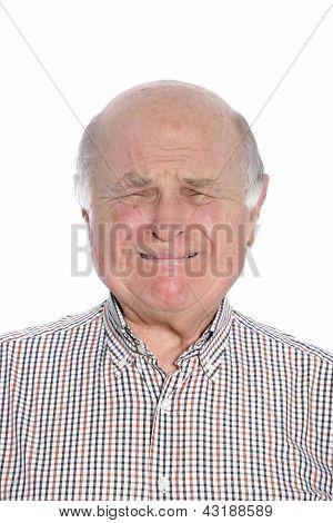 Frightened Senior Man Crying, Portrait