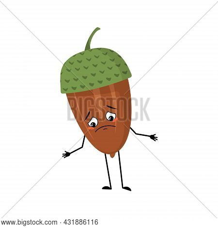 Character Acorn With Sad Emotions, Depressed Face, Down Eyes, Arms And Legs. Melancholy Forest Plant