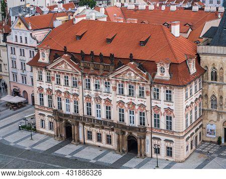 Prague, Czech Republic - July 3 2021: Goltz-kinsky Palace Or Palac Goltz-kinskych On Old Town Square