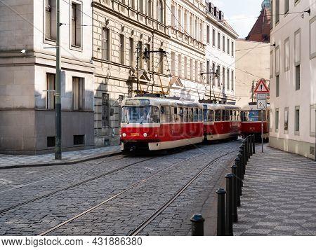 Prague, Czech Republic - July 3 2021: Tramway No. 12 Vystaviste Holesovice - Sidliste Barrandov In T