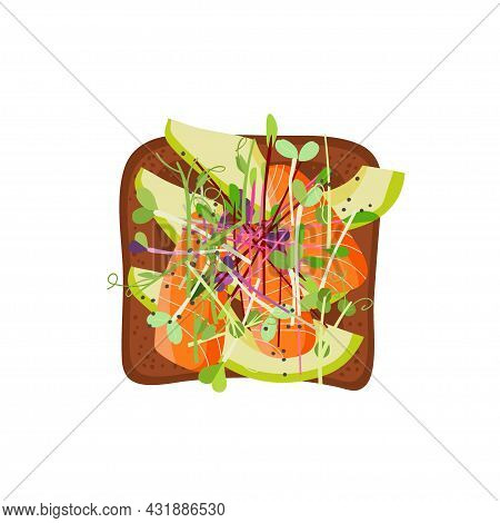 Toast With Avocado, Salmon, Micro Green. Snack. Overhead View Of Isolated Breakfast Snacks On Sandwi