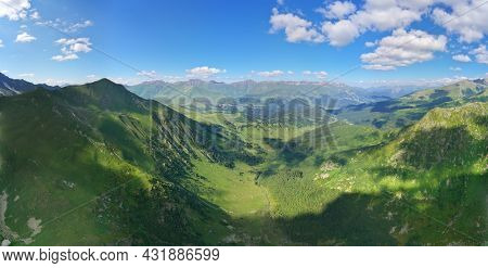 Mountain landscape panorama. Aerial nature composition.