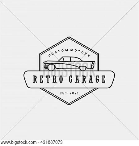 Vintage Retro Car Logo Design. Vintage Or Classic Or Retro Badge Emblem Style