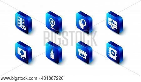Set Map Pointer With Cross Hospital, Male Head, Monitor Cardiogram, Medical Clipboard, Ointment Crea