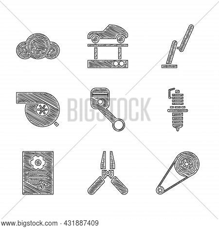 Set Engine Piston, Car Battery Jumper Power Cable, Timing Belt Kit, Spark Plug, Auto Service Check A