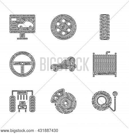 Set Auto Service Check Automotive, Car Brake Disk With Caliper, Tire Pressure Gauge, Radiator Coolin
