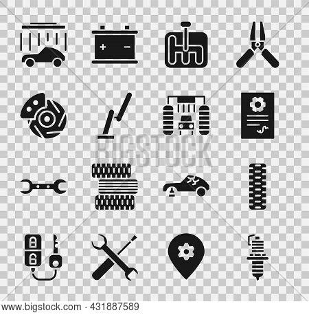 Set Car Spark Plug, Tire Wheel, Auto Service Check Automotive, Gear Shifter, Windscreen Wiper, Brake