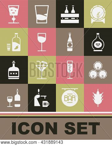 Set Hop, Wooden Barrels, Bottle Of Cognac Or Brandy, Pack Beer Bottles, Wine Glass, Vodka With Peppe