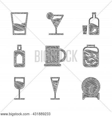 Set Wooden Beer Mug, Glass Of Champagne, Barrel On Rack, Pickled Cucumbers In Jar, Wine Glass, Whisk