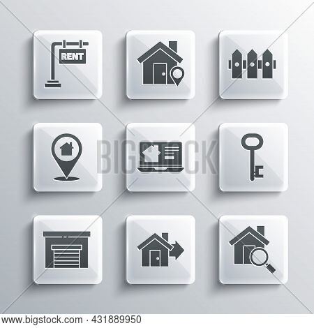 Set Sale House, Search, House Key, Online Real Estate, Garage, Location With, Hanging Sign Rent And
