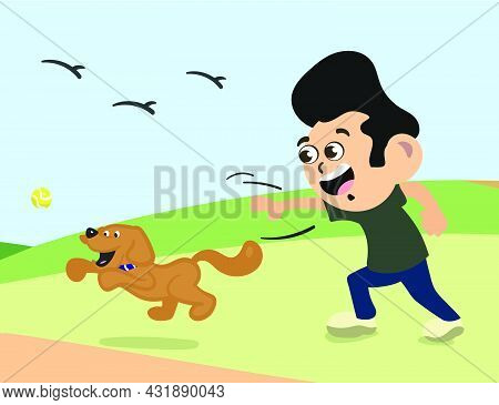 Man Playing Fetch With Pet Dog. Cute Dog Plating With Ball. Dog Owner Walking Dog In Park.