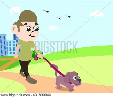 Dog Owner Man Walking His Best Friend In Public Park On Beautiful Summer Day With Birds In Sky.