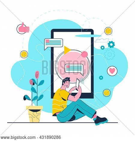 Man Near Big Smartphone Chatting, Reading News And Texting Message, Vector.