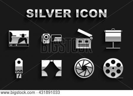 Set Curtain, Projection Screen, Film Reel, Camera Shutter, Usb Flash Drive, Movie Clapper, Online Pl