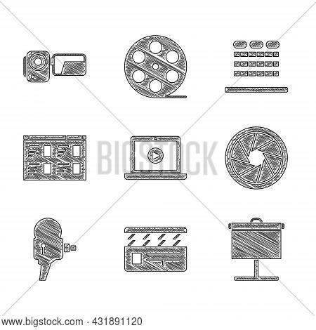 Set Online Play Video, Movie Clapper, Projection Screen, Camera Shutter, Retro Cinema Camera, Cinema