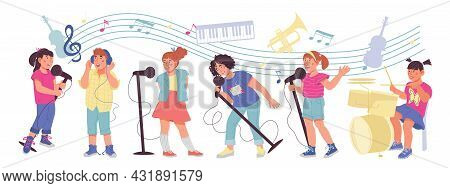 Banner With Children Playing Musical Instruments And Singing Songs, Flat Vector.