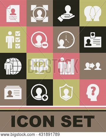 Set Head With Question Mark, Project Team Base, Identification Badge, Hand For Search People, Create