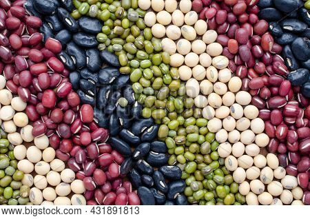 Dry Organic Cereal And Grain Seed Stripe Background Consisted Of Soybean, Red, Black, And Mung Bean