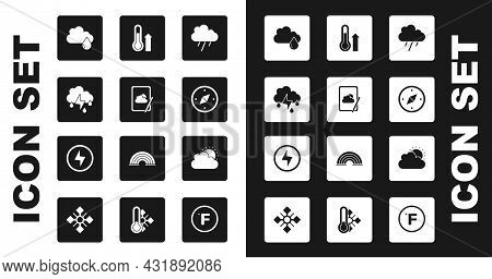 Set Cloud With Rain, Weather Forecast, And Lightning, Compass, Meteorology Thermometer, Sun Cloud We