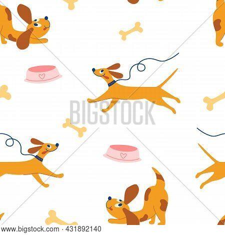 Cute Doggie Seamless Pattern. Happy Hand Draw Cute Dogs. Funny Puppies, Bones, Bowls. Childrens Patt