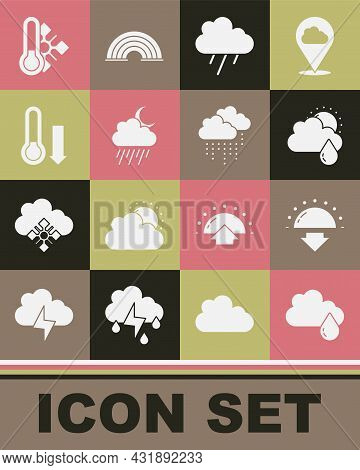 Set Cloud With Rain, Sunset, And Sun, Moon, Meteorology Thermometer, And Icon. Vector