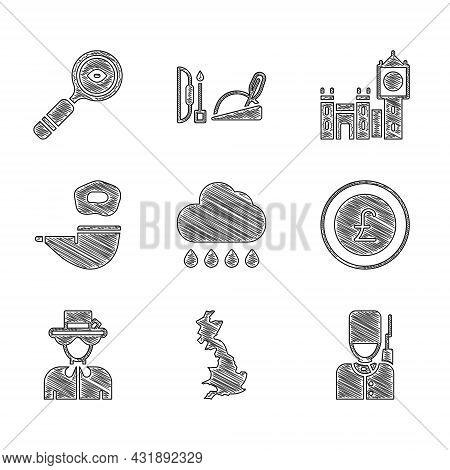 Set Cloud With Rain, England Map, British Soldier, Coin Money Pound, Queen Elizabeth, Smoking Pipe,
