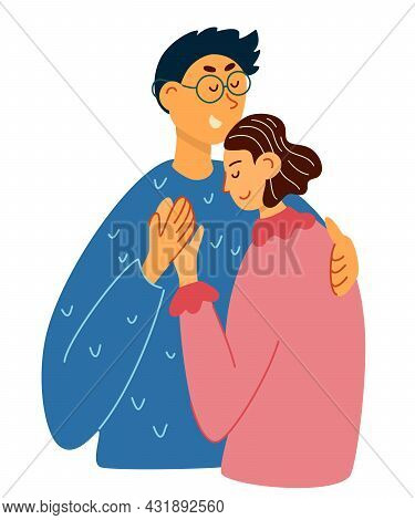 Happy Young Lovers Couple Hugging. Hand Draw Couple In A Relationship In Love. Boyfriend Hugs His Gi