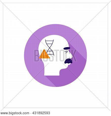 Genetic Cause Flat Icon. Apoe E4 Gene. Genetic Predisposition To Disease.alzheimer Disease. Neurolog