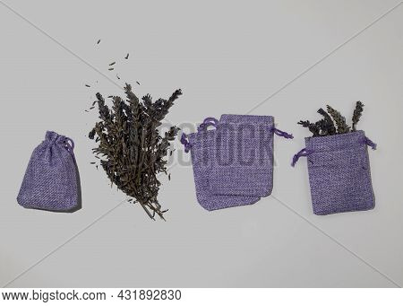 Handmade Lavender Sachet In Textile Bags. Dry Lavender Flowers For Filling. Protection From Moths.