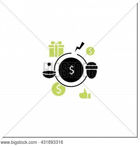 Breaking Poverty Cycle Glyph Icon. Unemployment Benefit. State Assistance.universal Basic Income Con