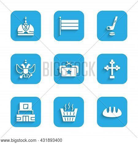 Set Ushanka, Sauna Bucket, Bread Loaf, Christian Cross, Mausoleum Of Lenin, National Emblem Russia,